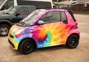 Vinyl Wrapped Tye Dye Smart Car