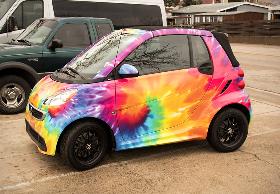 Vinyl Wrapped Tye Dye Smart Car